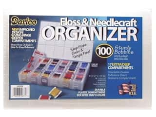 beading & jewelry making supplies: Darice Organizer 17 Hole Floss & Needlecraft with 100 Cardboard Bobbins