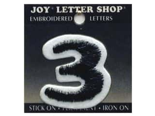 "Joy Lettershop Iron-On Number ""3"" Embroidered 1 1/2 in. Black"