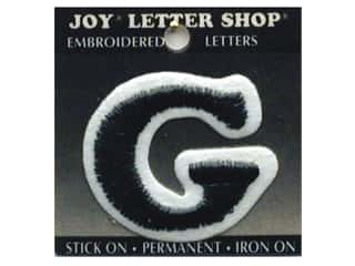 "6 inch iron on letters Iron On Patches: Joy Lettershop Iron-On Letter ""G"" Embroidered 1 1/2 in. Black"