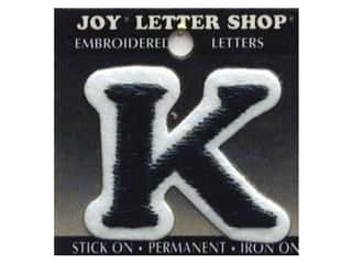 "Joy Lettershop Iron-On Letter ""K"" Embroidered 1 1/2 in. Black"