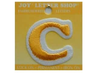 "6 inch iron on letters Iron On Patches: Joy Lettershop Iron-On Letter ""C"" Embroidered 1 1/2 in. Gold"