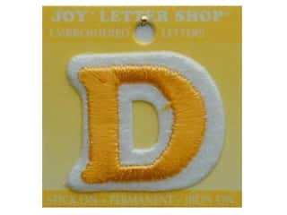 "monogram iron ons Iron On Letters & Numbers: Joy Lettershop Iron-On Letter ""D"" Embroidered 1 1/2 in. Gold"