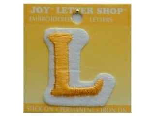 "monogram iron ons Iron On Letters & Numbers: Joy Lettershop Iron-On Letter ""L"" Embroidered 1 1/2 in. Gold"