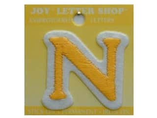 "monogram iron ons Iron On Letters & Numbers: Joy Lettershop Iron-On Letter ""N"" Embroidered 1 1/2 in. Gold"