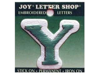 """Joy Lettershop Iron-On Letter """"Y"""" Embroidered 1 1/2 in. Green"""