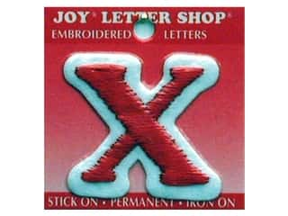 """Clearance: Joy Lettershop Iron-On Letter """"X"""" Embroidered 1 1/2 in. Red"""