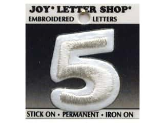 "Joy Lettershop Iron-On Number  ""5"" Embroidered 1 1/2 in. White"