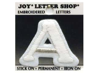 "monogram iron ons Iron On Letters & Numbers: Joy Lettershop Iron-On Letter ""A"" Embroidered 1 1/2 in. White"