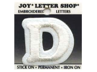 "Joy Lettershop Iron-On Letter ""D"" Embroidered 1 1/2 in. White"