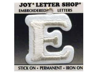 "monogram iron ons Iron On Letters & Numbers: Joy Lettershop Iron-On Letter ""E"" Embroidered 1 1/2 in. White"