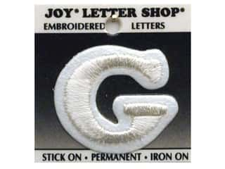 "sewing & quilting: Joy Lettershop Iron-On Letter ""G"" Embroidered 1 1/2 in. White"