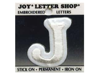 "Joy Lettershop Iron-On Letter ""J"" Embroidered 1 1/2 in. White"
