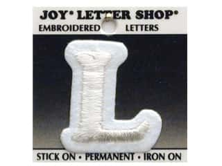 "6 inch iron on letters Iron On Patches: Joy Lettershop Iron-On Letter ""L"" Embroidered 1 1/2 in. White"