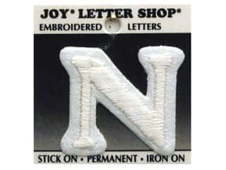 "monogram iron ons Iron On Letters & Numbers: Joy Lettershop Iron-On Letter ""N"" Embroidered 1 1/2 in. White"