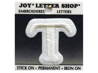 "monogram iron ons Iron On Letters & Numbers: Joy Lettershop Iron-On Letter ""T"" Embroidered 1 1/2 in. White"