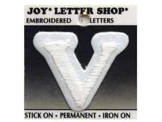 "Joy Lettershop Iron-On Letter ""V"" Embroidered 1 1/2 in. White"