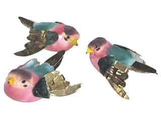Clearance Accent Design Tissue: Accent Design Artificial Bird 2 1/8 in. Bunting Blue/Pink/Brown 1 pc.