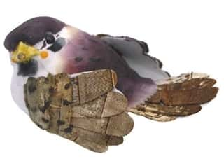 Clearance: Accent Design Artificial Bird 2 1/2 in. Brambling Wh/Plum/Brown 1 pc.