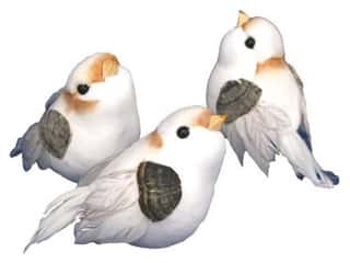 Clearance: Accent Design Artificial Bird 3 in. White/Peach/Grey Feather 1 pc.