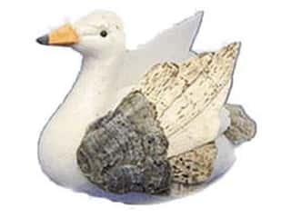 decorative floral: Accent Design Artificial Bird 2 1/2 in. Swan White/Brown 1 pc.