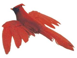 Clearance Floral & Garden Accents Large Bird: Accent Design Artificial Bird 5 in. Cardinal Red/Black Feather 1 pc.