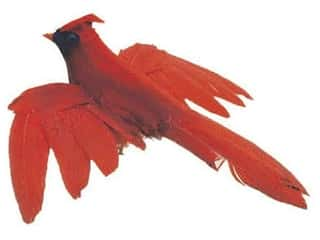 Floral & Garden: Accent Design Artificial Bird 4 in. Cardinal/Black Feather 1 pc.