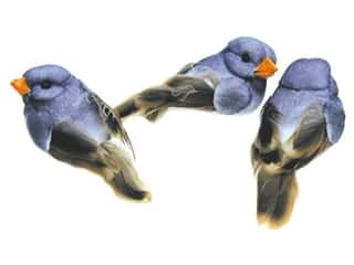 Accent Design - Garden Accents: Accent Design Artificial Bird 1 in. Blue/Brown Feather 3 pc.