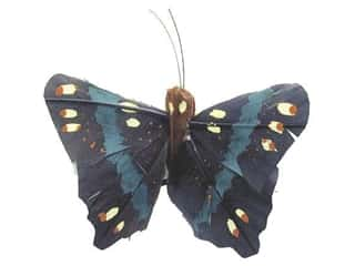 Clearance Floral & Garden Accents Butterflies: Accent Design Artificial Butterfly 2 3/4 in. Black/Green Feather 1 pc.