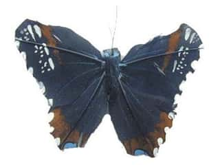 decorative floral: Accent Design Artificial Butterfly 5 in. Black/Rust/Blue Feather 1 pc.