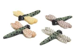 craft & hobbies: Accent Design Artificial Dragonfly 1 in. Green/Black/White Feather 2 pc.