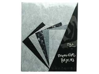 Black Ink Decorative Papers 10 pc. Silver Glitter