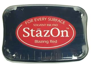 scrapbooking & paper crafts: Tsukineko StazOn Large Solvent Ink Stamp Pad Blazing Red
