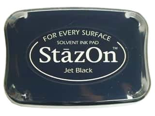 Tsukineko StazOn Large Solvent Ink Stamp Pad Jet Black