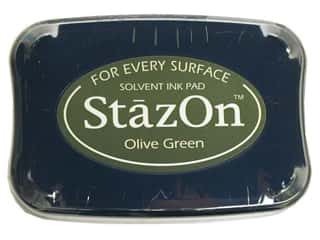 Tsukineko StazOn Large Solvent Ink Stamp Pad Olive Green