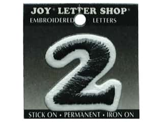"Joy Lettershop Iron-On Number ""2"" Embroidered 1 1/2 in. Black"