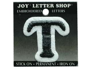 "sewing & quilting: Joy Lettershop Iron-On Letter ""T"" Embroidered 1 1/2 in. Black"
