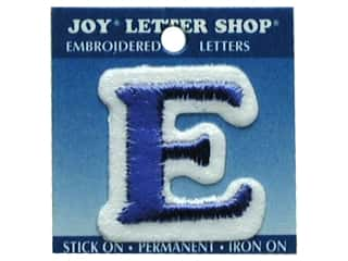 """Clearance: Joy Lettershop Iron-On Letter """"E"""" Embroidered 1 1/2 in. Blue"""