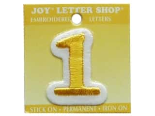 "Joy Lettershop Iron-On Number ""1"" Embroidered 1 1/2 in. Gold"