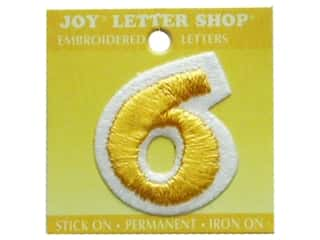 "Joy Lettershop Iron-On Number ""6"" Embroidered 1 1/2 in. Gold"