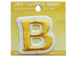 "Joy Lettershop Iron-On Letter ""B"" Embroidered 1 1/2 in. Gold"