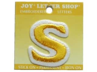 "monogram iron ons Iron On Letters & Numbers: Joy Lettershop Iron-On Letter ""S"" Embroidered 1 1/2 in. Gold"