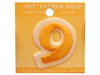 """Clearance: Joy Lettershop Iron-On Number """"9"""" Embroidered 1 1/2 in. Gold"""
