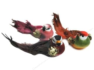 decorative bird: Accent Design Artificial Bird 2 3/4 in. Multicolor Feather 1 pc.