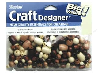 craft & hobbies: Darice Small Wood Beads 1.41 oz. Assorted Natural and Tan