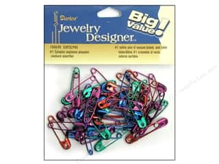 jewelry safety pin: Darice Jewelry Designer Safety Pins #1 Colors 53pc