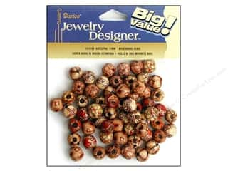 wood beads: Darice Wood Beads 12 mm Barrel 60 pc. Printed