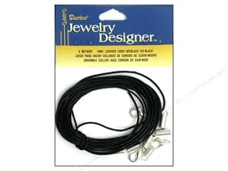 beading & jewelry making supplies: Darice Jewelry Designer Findings Leather Necklace Kit 1mm Black