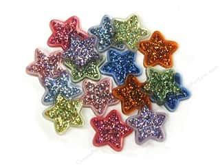 scrapbooking & paper crafts: Jesse James Dress It Up Embellishments Button Fun Glitter Stars
