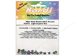 beading & jewelry making supplies: Kandi Swarovski Xilion Hotfix Crystals 4 mm 24 pc. Light Mix