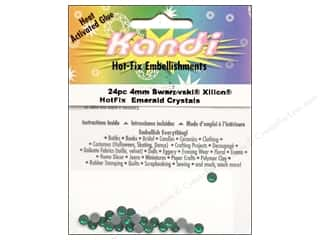 Kandi Swarovski Xilion Hotfix Crystals 4 mm 24 pc. Emerald